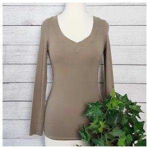 Splash Taupe Brown Long Sleeve V Neck T Shirt M